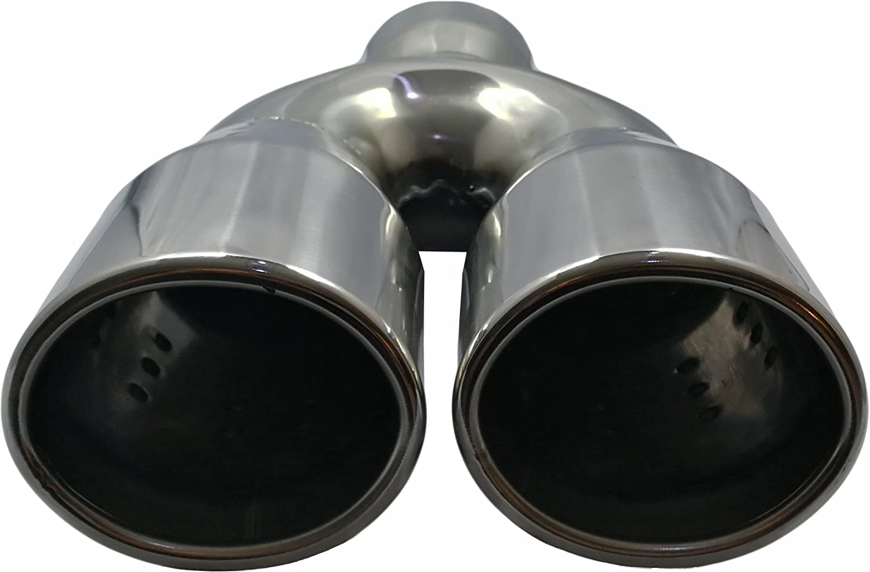 Cartuner Auspuffblende Endrohr Oval 2 X 80x70mm Edelstahl In Sportauspuff Optik Absorber 38 55mm Auto
