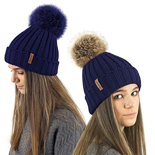 cd764068656 TOSKATOK Ladies Girls Chunky 3 in 1 Rib Beanie Hat with 2 Interchangeable  Large Faux Fur