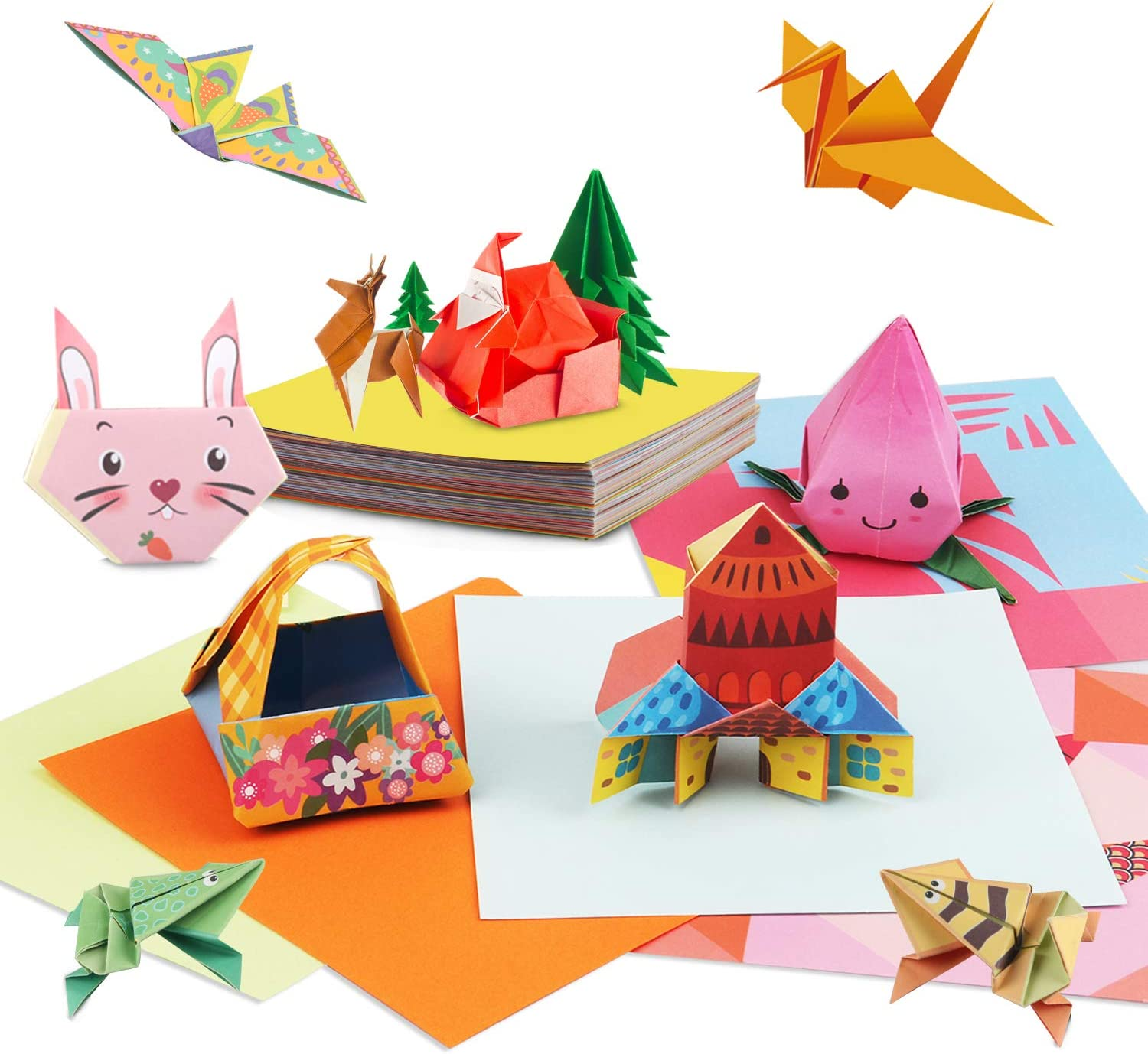 Christmas Gifts Decor Double Sided Origami Paper Craft Kits for Kids 6-12, Origami Book STEM Activities for Kids Ages 5-7 Learning Games Funny Birthday Gifts - Colored Paper 123 Paper 54 Patterns