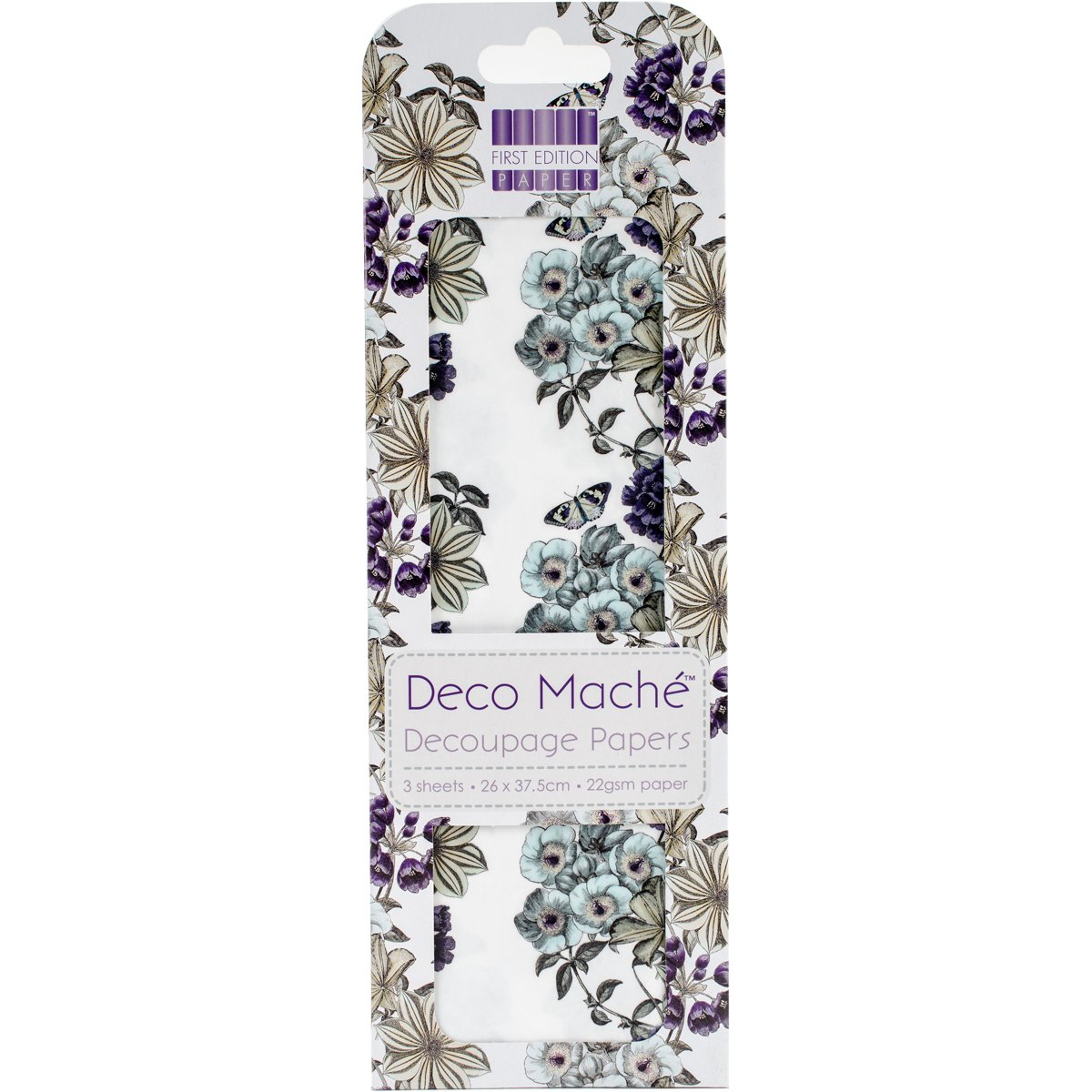 3 SHEETS OF DECOUPAGE DECO MACHE PAPER FIRST EDITION  BLOSSOM