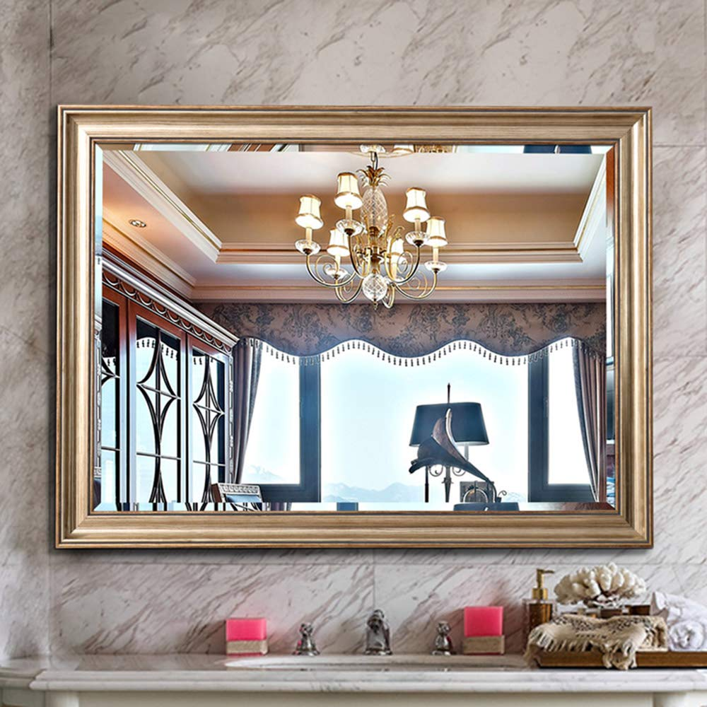 Bathroom mirror Rectangular Mirror | Framed Wall Mirror, Composite Material | Modern Makeup Mirror - Decorative Mirror, Suitable for Living Room, Bedroom (Antique Gold, 600800 mm)
