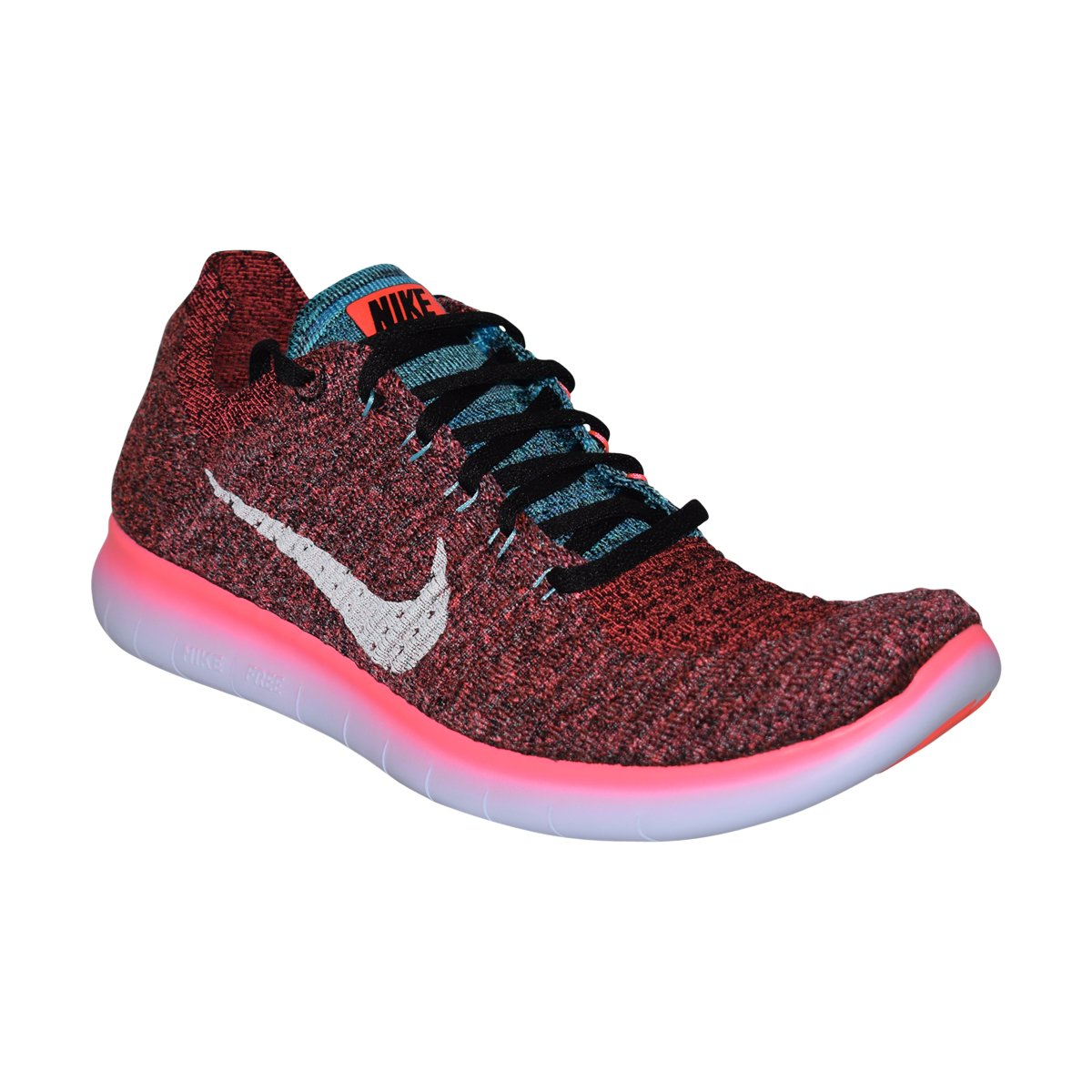 NIKE Mens Free RN Flyknit (Hot Punch/White-Black, 7.5 D(M) US)