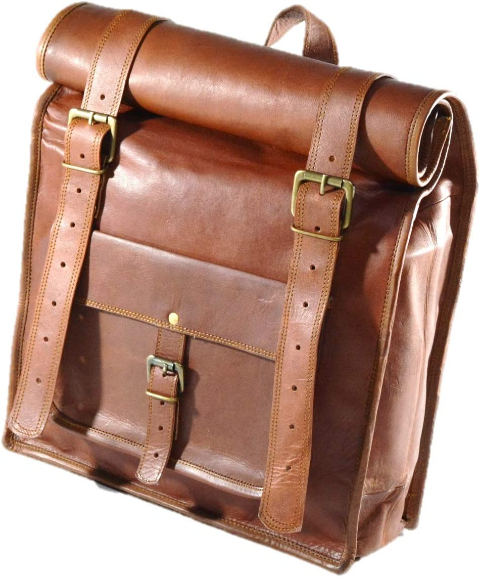 Satchel and Fable Men Leather Vintage Roll on Laptop Backpack Rucksack Bag Brown