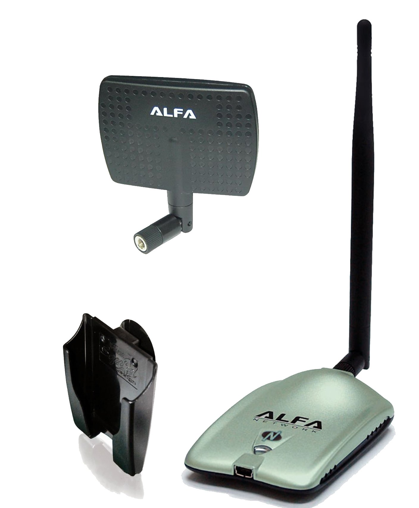 Alfa AWUS036NH 2000mW 2W 802.11g/n High Gain USB Wireless G/N Long-Range WiFi Network Adapter with 5dBi Screw-On Swivel Rubber Antenna and 7dBi Panel Antenna and Suction Cup/Clip Window Mount by Alfa