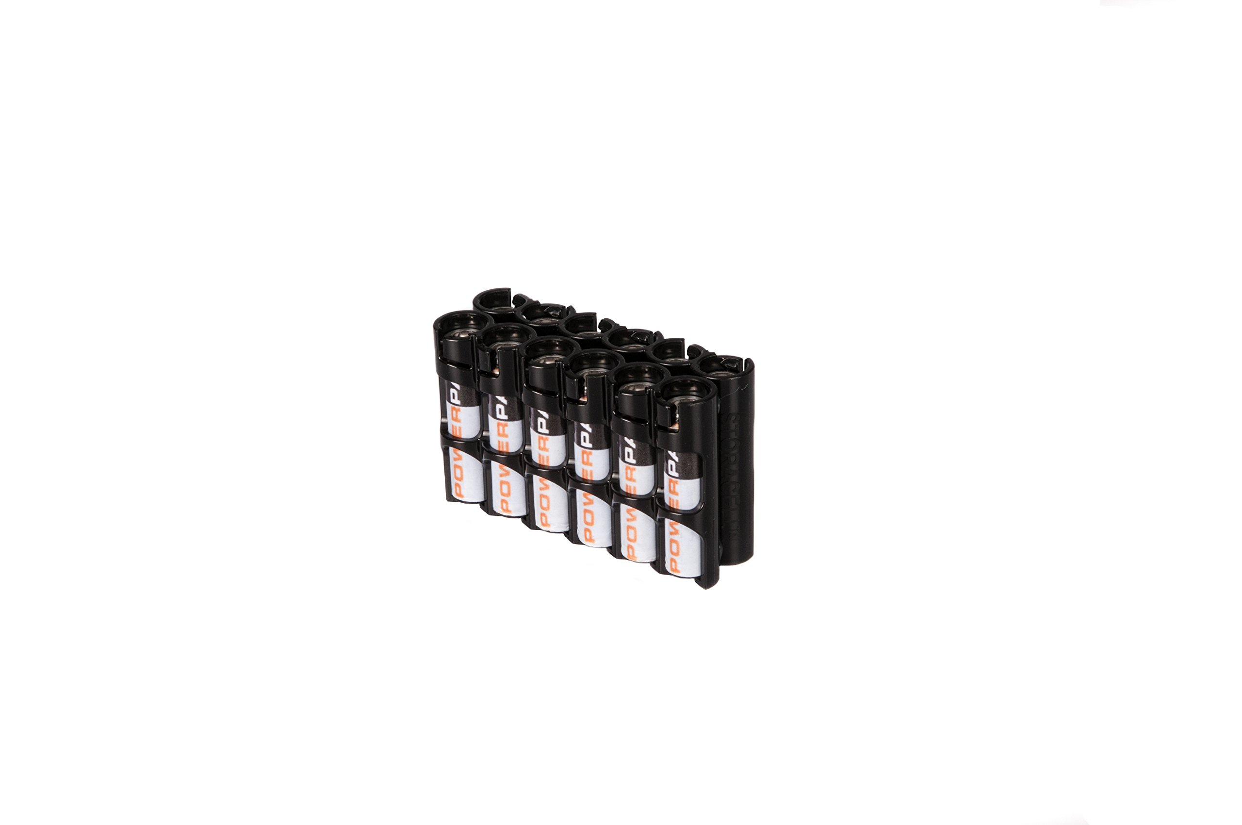 Storacell by Powerpax AAA Battery Caddy, Black, Holds 12 Batteries