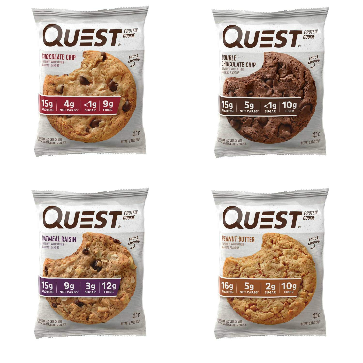 Quest Nutrition Protein Cookie Variety Pack (Chocolate Chip, Double Chocolate, Peanut Butter and Oatmeal Raisin). Meal Replacement Bar with 15 Gram Protein. High Fiber, Gluten Free. (12 Count) by Quest Nutrition