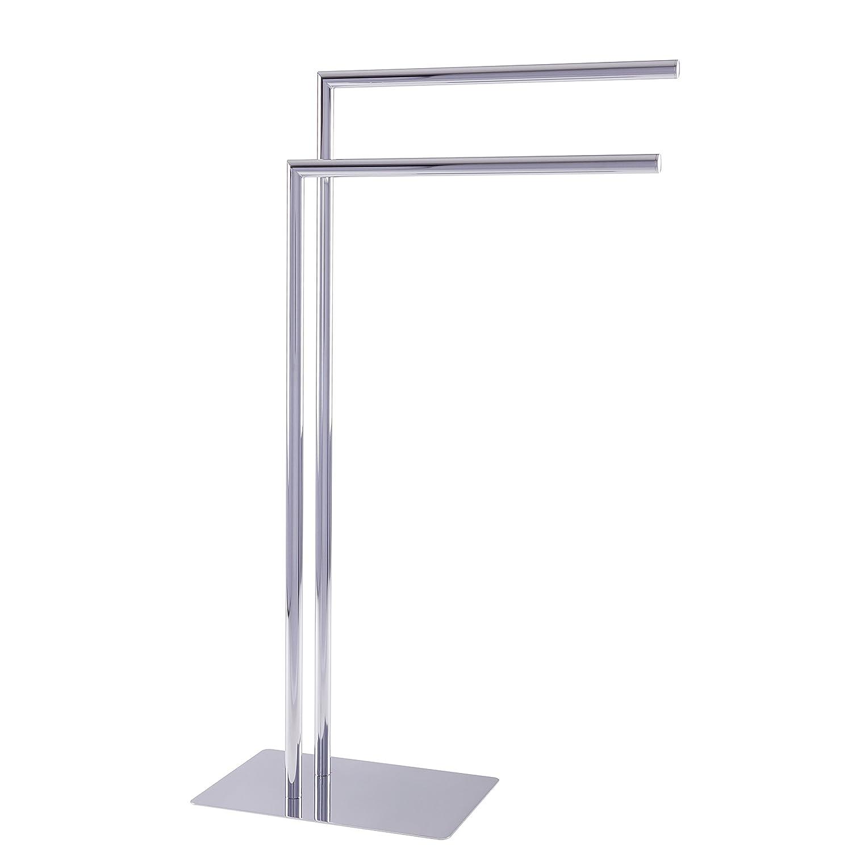 Esbada Design-Handtuchstä nder freistehend/freistehender Handtuchhalter/Badehandtuchstä nder, Eckig, 2 Handtuchstangen - Chrom - 40x80,5x20 cm