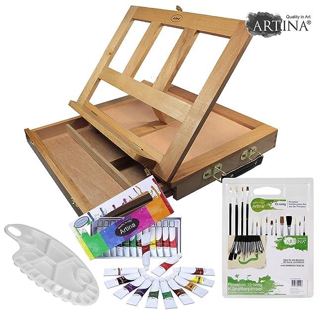 9 opinioni per Starter set artistico ARTINA- cavalletto da tavolo in valigetta + acquerelli,
