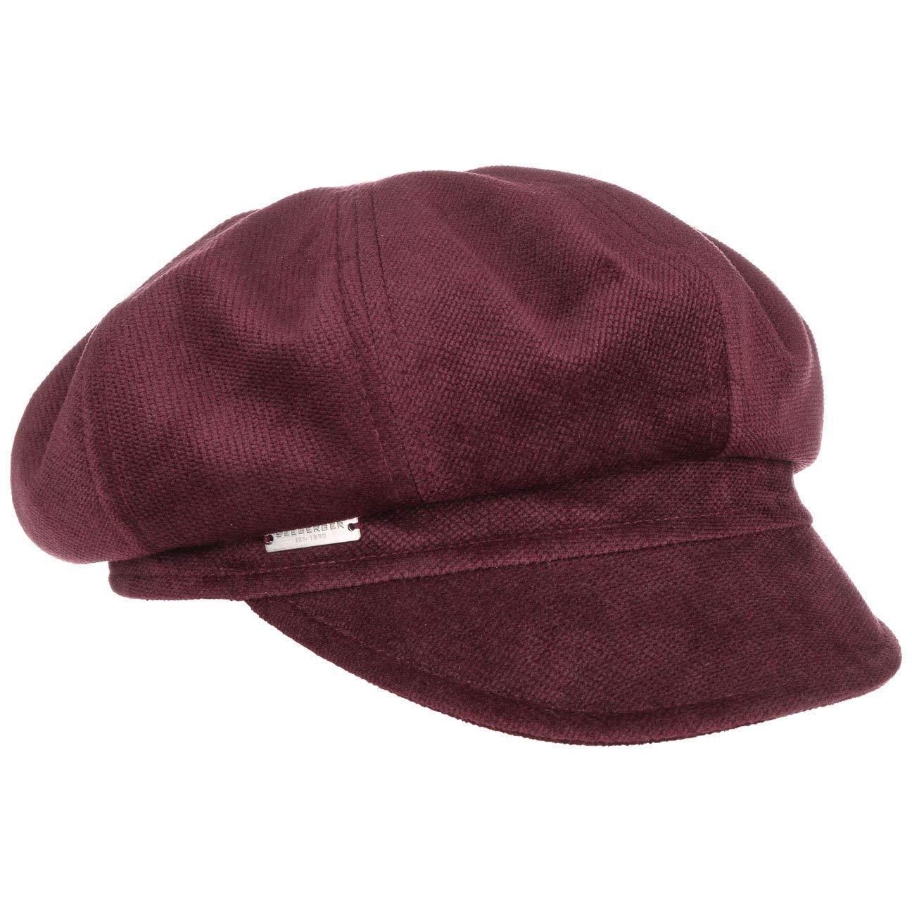 Seeberger SAMT Ballonmütze Damencap, Newsboy-Mütze, Wintercap, Baker-Boy-Mütze Wintercap Mit Schirm Newsboy-Mütze