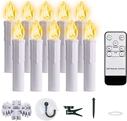 Led Taper Candles with Remote Timer, 10 PCS Battery Operated Window Candles with Flickering Warm White Lights for Home Holidays Outdoor Christmas Decorations Warm White, 10pcs 0.7 D x 4 H