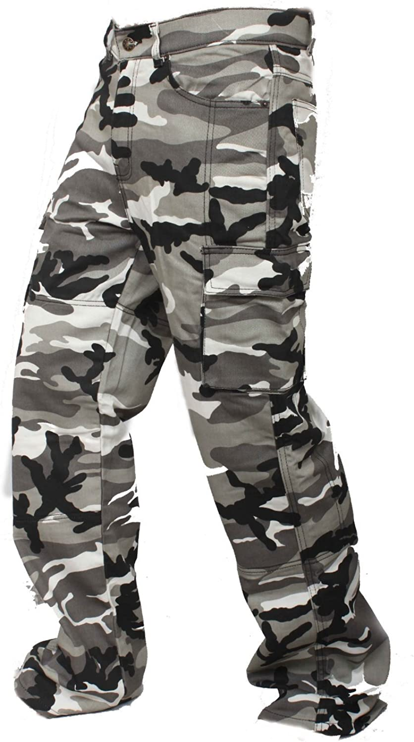 Newfacelook Mens Motorcycle Urban Jeans Pants Reinforced with Aramid Protection I111 Camo W38-L34