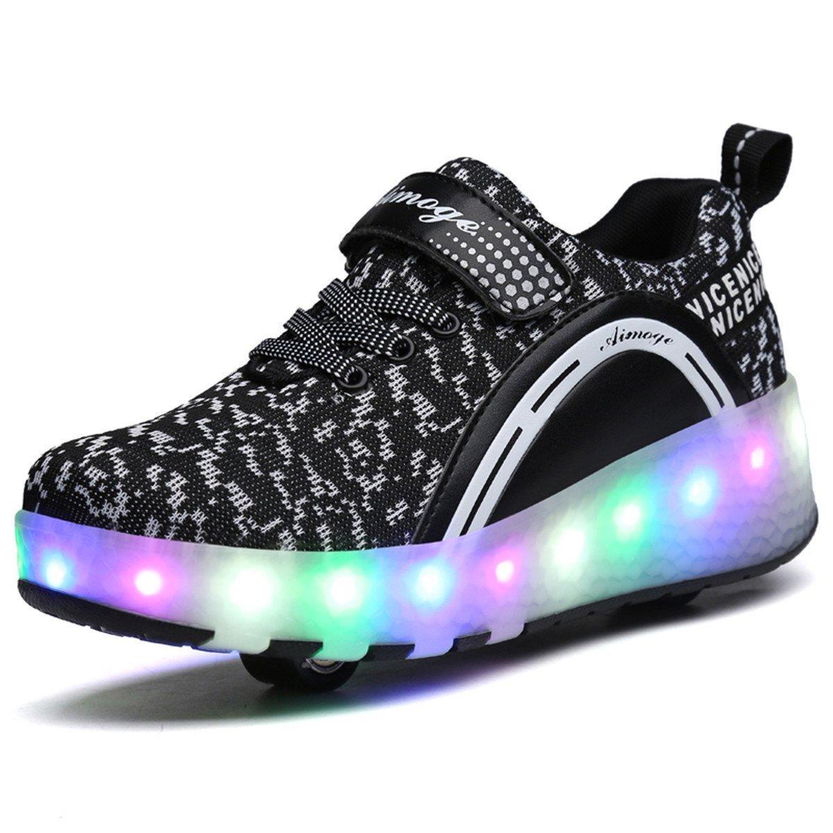 Children 's two - round luminous burst shoes colorful LED light shoes Black 35/4 B(M) US Women / 3 D(M) US Men
