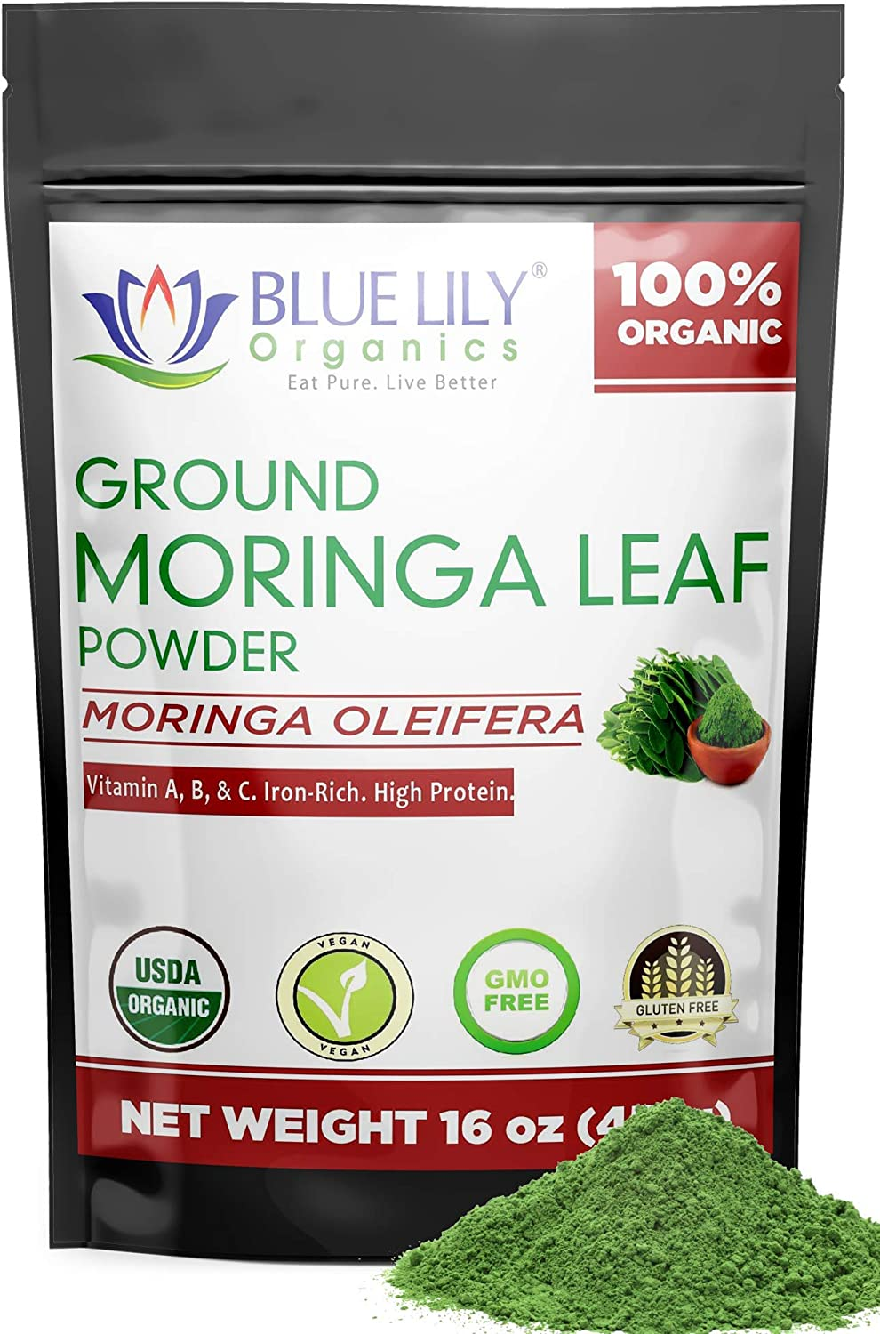 Organic Moringa Powder – Large 16oz Bag of 100% Pure USDA Certified Oleifera Leaf - a Natural Energy & Metabolism Boost - Non-GMO Vegan Protein Supplement and Green Raw Superfood – Nutrient Packed