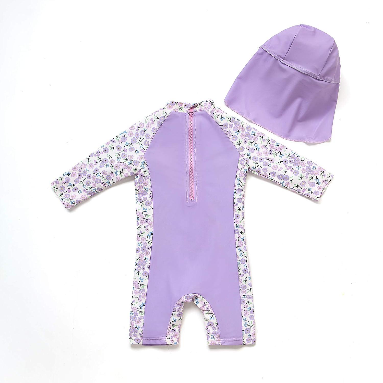 Baby M/ädchen Ein st/ück 3//4 der /ärmell/änge UV-Schutz 50 Badeanzug MIT Einem Rei/ßverschluss(Lila-Blulen,3-6M)