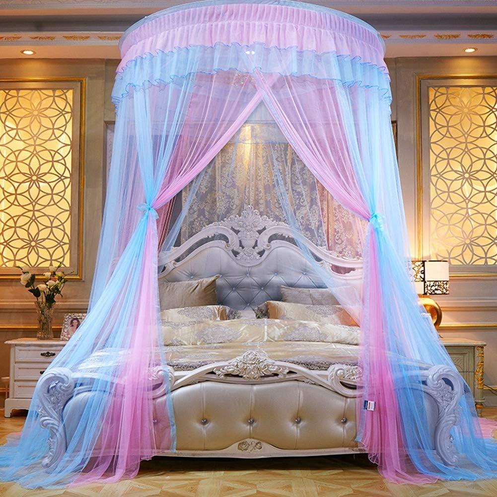 Princesse /Él/égant Ciel de Lit Baldaquin Rideau de Lit D/écoration Chambre Bleu Rose Moustiquaire de Luxe Hauteur:2.7M