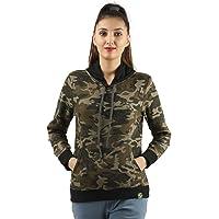 ZOROZ Women's Hood Sweatshirts with Camouflage Print Khaki Camo
