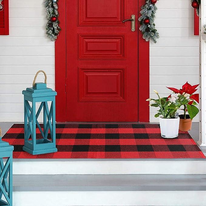 Christmas Area Rugs Winter Deer Buffalo Plaid Door Mats Rug,Floor Front Doormats