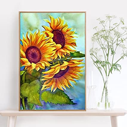 amazon com katosca paint by number kits diy oil painting sunflower
