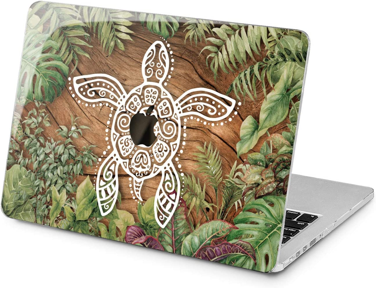 "Cavka Hard Shell Case for Apple MacBook Pro 13"" 2019 15"" 2018 Air 13"" 2020 Retina 2015 Mac 11"" Mac 12"" Design Plastic Palm Laptop Leaves Turtle Sea Boho Protective Wood Trendy Cover Print Tropical"