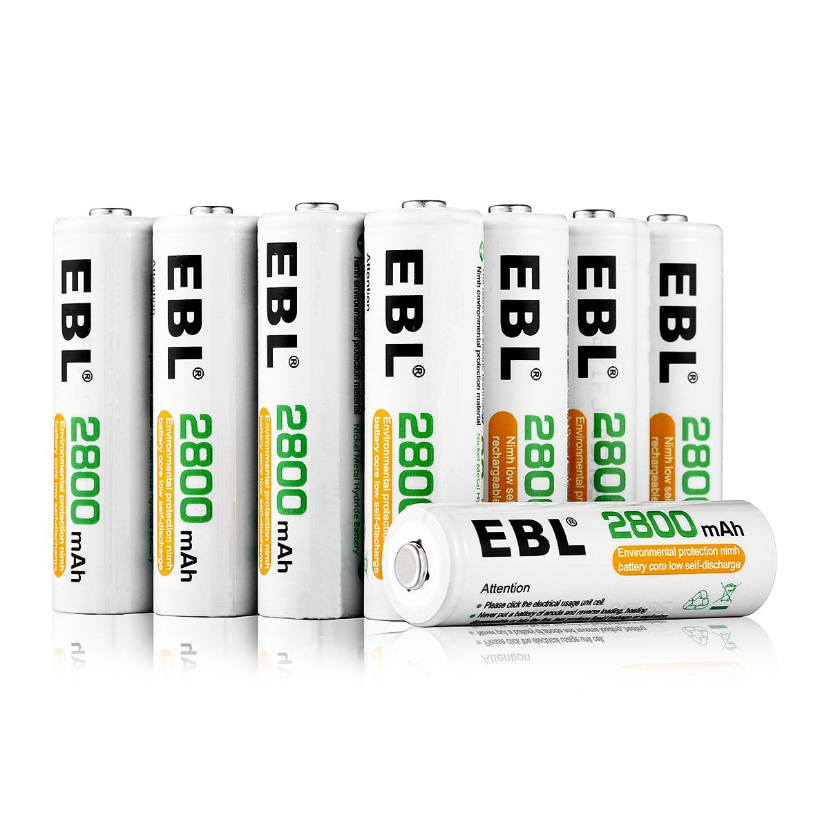 EBL AA Rechargeable Batteries 2800mAh Ready2Charge UL Certified Quality AA Batteries - 16 Counts