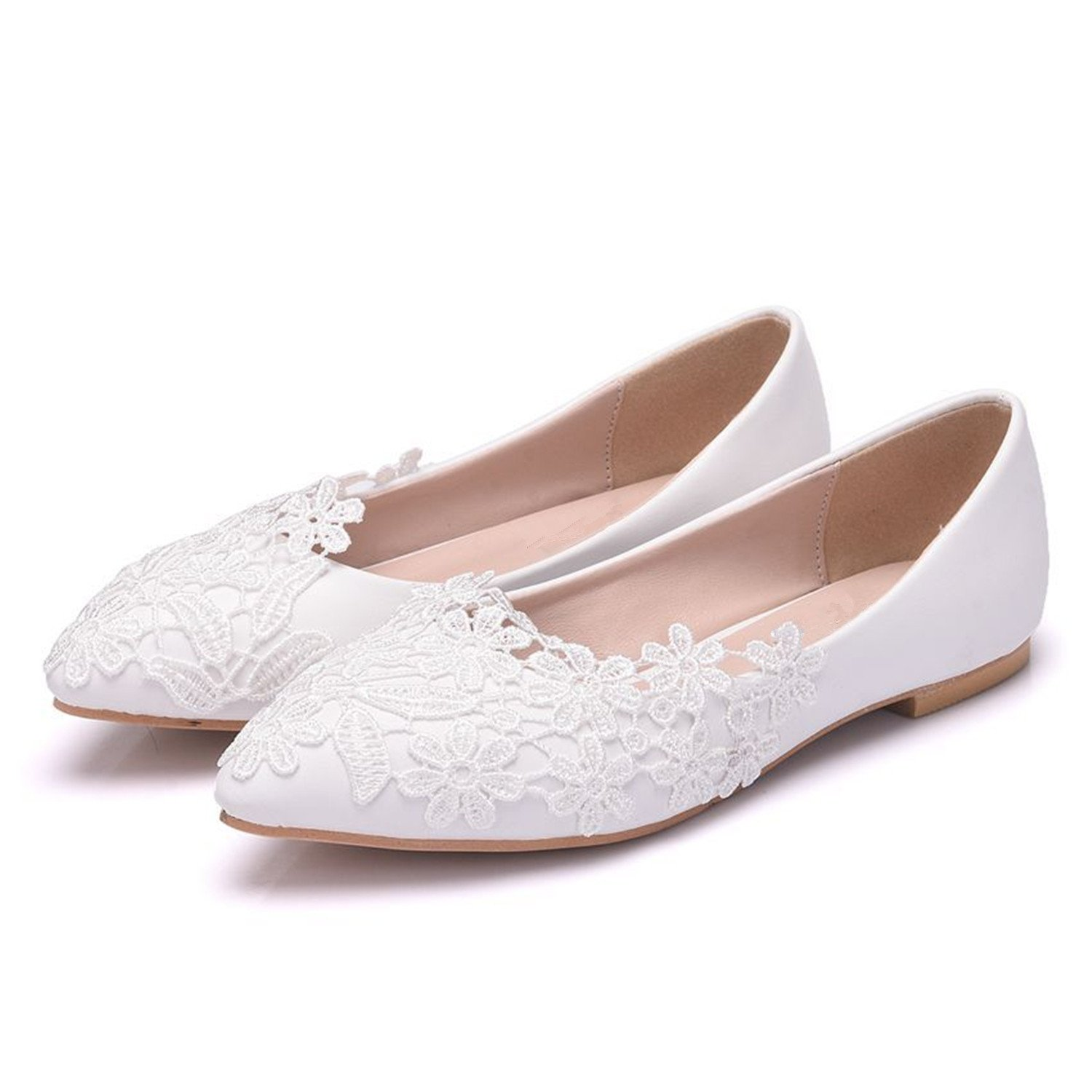 Aiybao White Lace Wedding Bride Shoes for Bride Comfort Bride Wedding Shoes Wedding Bridal Dresses B07BGZCW75 8 B(M) US|Lace 430b61