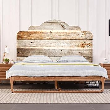 LNPP 3D DIY Wandaufkleber F¨¹r Schlafzimmer Imitation Bett Kopfteil Holz  Textur Wand Dekor,