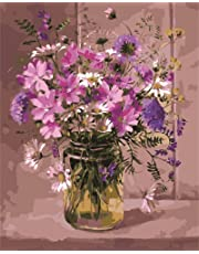 CaptainCrafts New Paint by Numbers 16x20  for Adults, Kids LINEN Canvas - Tradescantia Fragrant Purple Flowers (Frameless)