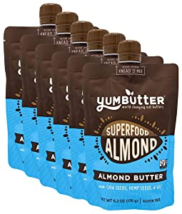 Superfood Almond Butter by Yumbutter, Gluten Free, Vegan, Non GMO, 6.2oz Pouch (Pack of 6)