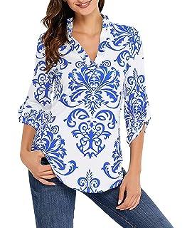 4f0372b5af2c4 Shmily Girl Mujeres Camisa Elegante Blusa Mangas Largas Camiseta Polsillo  Escote V