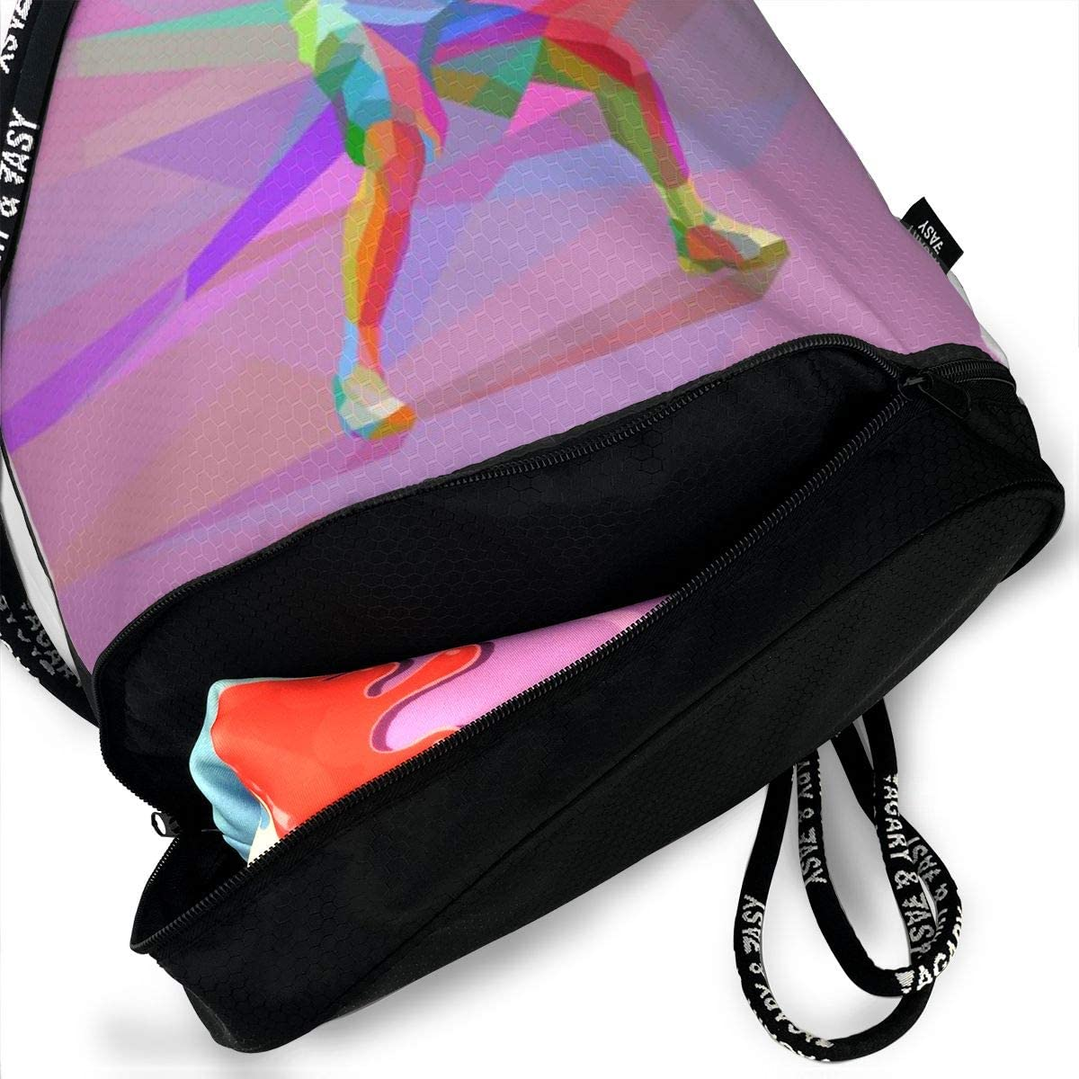 Kji Gym Sack Drawstring Bag Tennis Famouse Man Printed Sackpack Sport Cinch Pack Backpack for Men Women