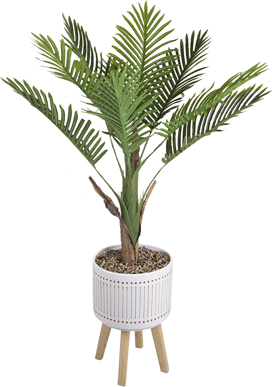 Amazon Com Flora Bunda Artificial Plant Tree Areca Palm Tree 4 Feet Tall In 10 Inch Mid Century Verbena Ceramic Planter On Wood Stand White Home Kitchen