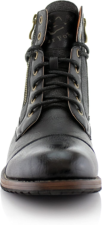 Polar Fox Kanye MPX808578 Mens Casual Cap Toe Boot Motorcycle Zipper Boots Men