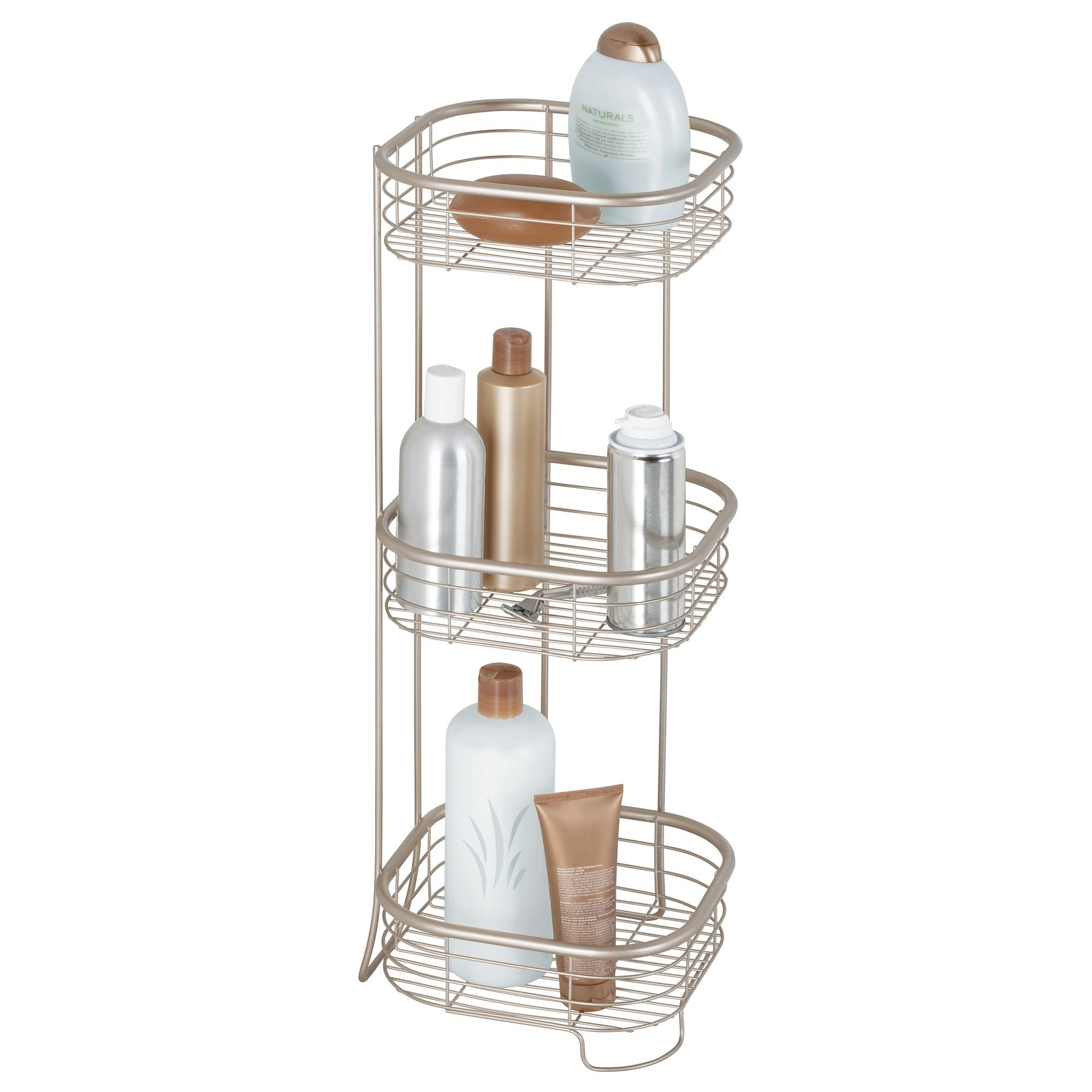 iDesign Forma Metal Wire Corner Standing Shower Caddy, Bath Shelf Baskets for Shampoo, Conditioner, Soap, 9.5'' x 9.5'' x 26.25'', Satin Silver by iDesign