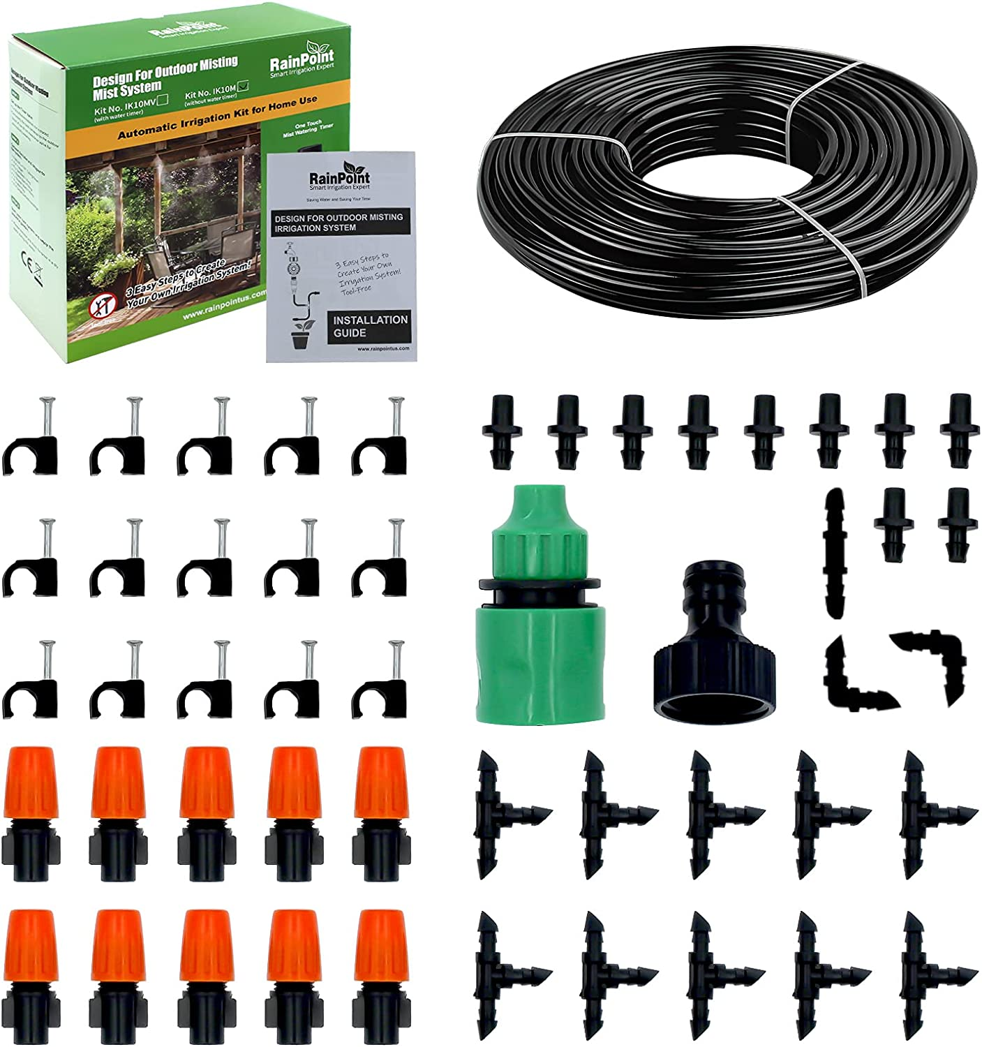 Drip Irrigation Kit, Saving Water Automatic Irrigation Equipment Set,Garden Irrigation System with Adjustable Nozzle