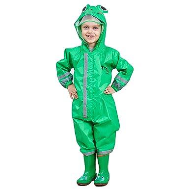 Bwiv Regenmantel Kinder Wasserdicht Atmungsaktiv Regenanzug Einteilig Jungen Mädchen Regenjacke mit Reflektor Leicht Overall