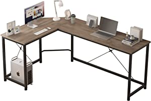 L Shaped Computer Desk Home Office Corner Desk of Spacious Desktop for Small Space Study Desk Gaming Desk Side Table with X Rods Sturdy Enhancement (Gray)