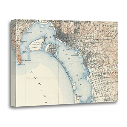 Vintage San Diego Map.Amazon Com Torass Canvas Wall Art Print Bay Vintage Map Of San