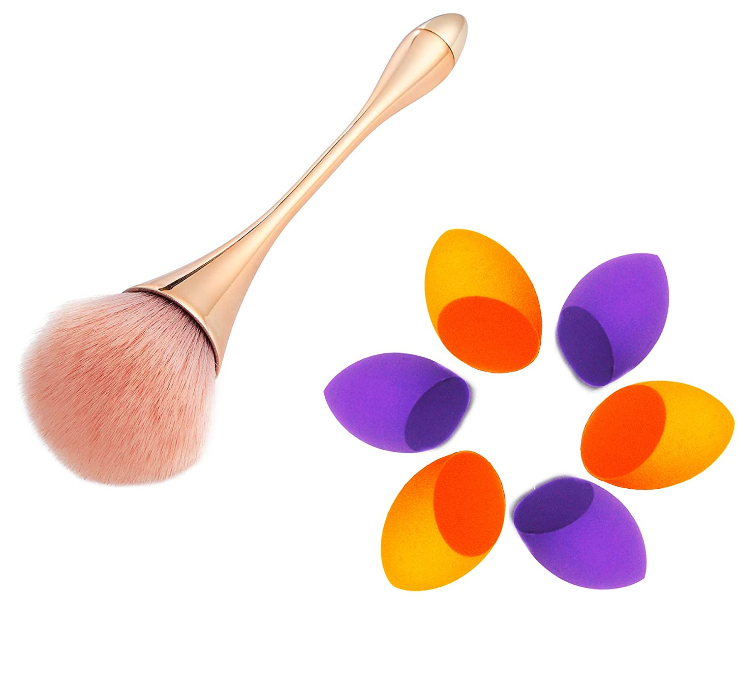 6 Makeup Sponge Blenders with 1 Large Beautiful Makeup Brush, Soft Latex-Free Beauty Sponges for Liquid Cream & Powder,Premium Cosmetic Brush Helps Build Smooth Even Coverage