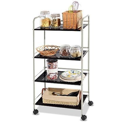 Amazon.com: Giantex Steel Utility Cart Storage Shelf Rack Mobile ...