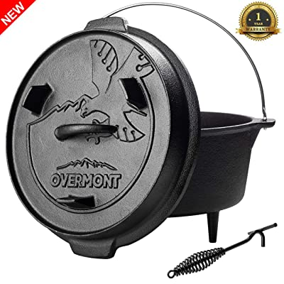 Overmont Camp Dutch Oven 11.2x11x8in All-round Cast Iron Casserole Pot Dual Function Lid Skillet Pre Seasoned