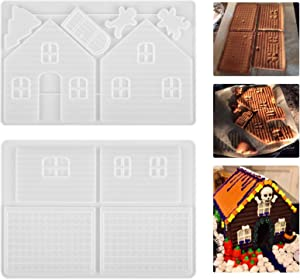 2 Pack Christmas Silicone Molds 3D House Art Molds for Resin, Chocolate, Food Grade Silicone and BPA Free