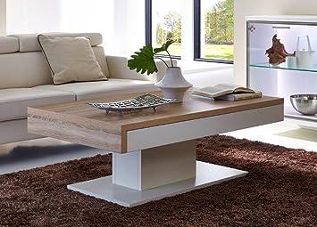 Design Couchtisch Mit Schiebefunktion 125 X 45 X 75 Weiß Mattlack