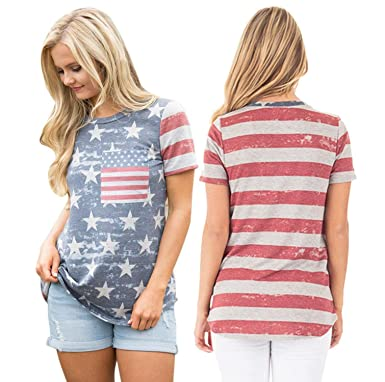 035a23d5a0bd7b POPTEM Womens Casual American Flag T Shirt 4th of July Short Sleeve Tee USA  Patriotic Summer