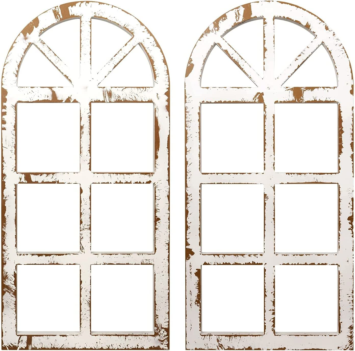 """Trico-op Designs Distressed White Window Frame Wall Decor, Decorative Wooden Cathedral Arch, Farmhouse Wall Art Home Decoration, 31.5"""" x 15.75"""" (2 Pack)"""