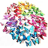 ElecMotive 72 Pcs 6 Packs Beautiful 3D Butterfly Wall Decals Removable DIY Home Decorations Art Decor Wall Stickers…