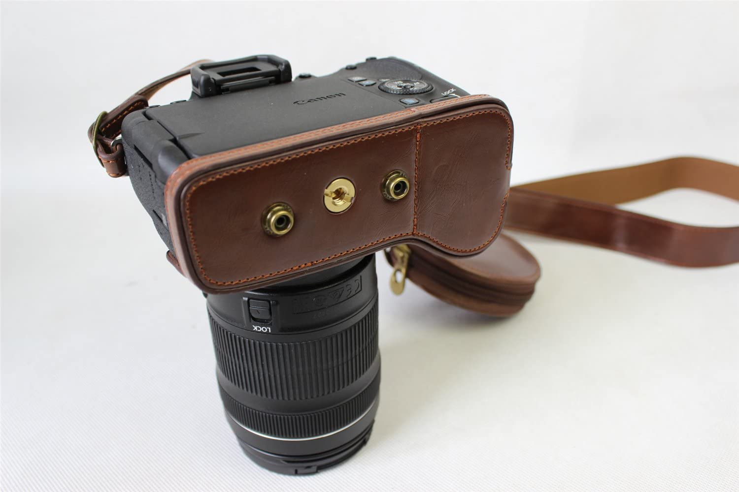 EOS 77D Case Neck Strap Mini Storage Bag -Brown BolinUS Handmade PU Leather FullBody Camera Case Bag Cover for Canon EOS 77D 800d with 18-135mm 18-200mm lens Bottom Opening Version