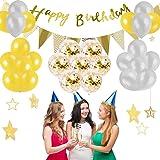 誕生日 飾り付け Chereda 風船 ゴールド HAPPY BIRTHDAY 装飾 バースデー(32点セット)ガーランド バースデー 飾り セット 誕生日 飾り付け