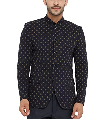 04a032157d22 SHOWOFF Men's Cotton Full Sleeves Slim Fit Printed Navy Blue Blazers:  Amazon.in: Clothing & Accessories