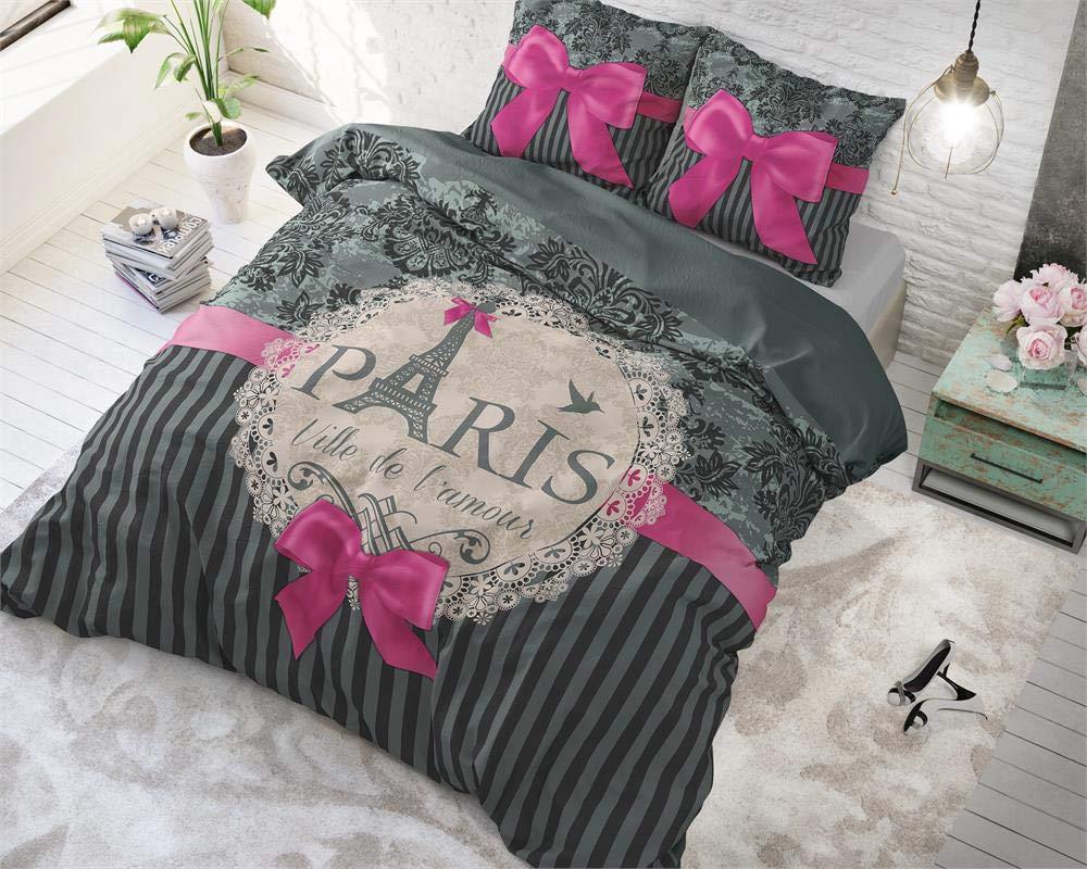 SleepTime Parure de lit Love Paris Text//Romantisch 2 Personnes 200 x 220 cm