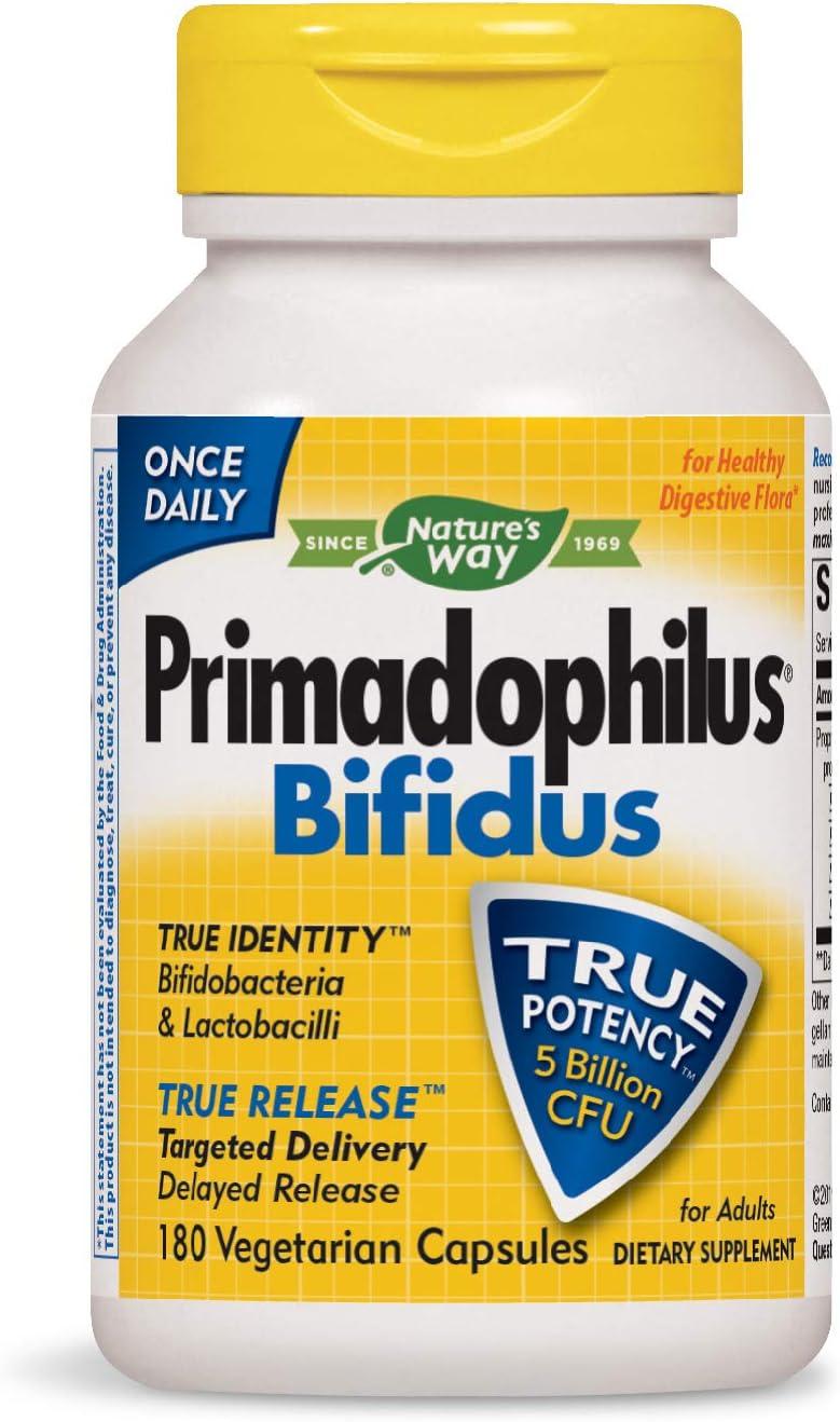 Nature's Way Primadophilus Bifidus 5 Billion CFU, Delayed Release, 180 Capsules